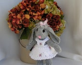 EMILY  hand made stuffed, knit, needle felted toy  rabbit