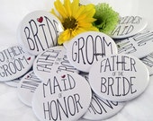 20 Wedding Party Magnets, Mirrors, Bottle Openers or Pins - 2.25""