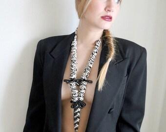 African Goddess - ethnographic, statement,  necklace, organic, handmade, batik beads, cow bone, onyx, black, white