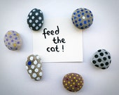 6 Polka Dot Magnets, Beach Pebbles with Magnets, Unique Gifts, Sea Stones, Painted Rocks by Happy Emotions