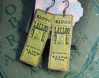 Circus earrings Circus jewelry Victorian poster image Lalloo mixed media jewelry