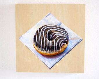 "Small Original Painting, Chocolate Doughnut Still Life, Photorealism, Acrylic on Wood, 8 x 8"""