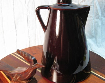Vintage Brown Ceramic Pitcher with Cork