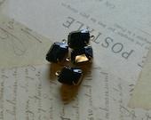 Reserved for the CAT -- Vintage Swarovski Jet Black Rhinestone UnFoiled Glass Jewels 12x10 Octogon Brass Settings