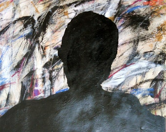 Self Portrait 2, 5-26-13  (abstract painting, black, red,, white, ivory, yellow, cream, blue, gray)