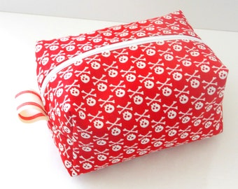 Red Skulls Makeup Bag  - Cosmetic Pouch -  Lunch Bag - Wet Bag -Waterproof Bag