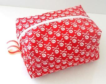 Red Skulls Makeup Bag  - Cosmetic Pouch -  Lunch Bag - Wet Bag -Waterproof Bag