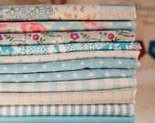 "Cotton Linen Fabric Cloth -DIY Cloth Art Manual Cloth -Sweet Flowers Blue Series 11Pieces 13x19 Inches "" Each"