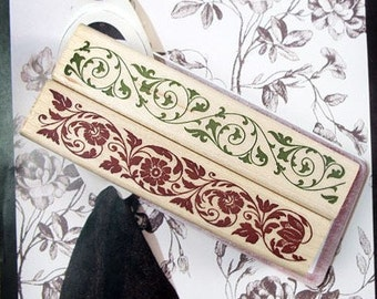 2Pcs Wooden Rubber Stamp - Vintage Style - Lace Edge