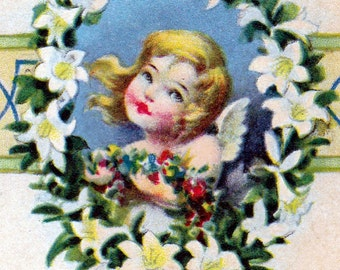 Ca. 1910 Easter Greetings Postcard w/ Girl, Cross & Motto- 127