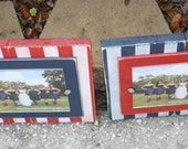 Distressed Picture Frames, Striped 5x7 Frames, Rustic Frames, Wedding Gift, Set of Two Frames
