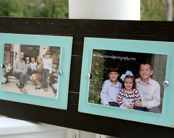 distressed picture frame college frame double 5x7 frame rustic picture frame aqua - Double 5x7 Picture Frame