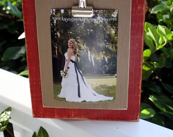 Distressed Picture Frame, 4x6 Picture Frame, Red Frame, Note Holder, Recipe Holder