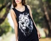 Lion head Tank Top - Women tank top tshirt black tee shirt Tunic Unisex Shirt Vest Women Men Sleeveless Singlet Black T-Shirt Size M L