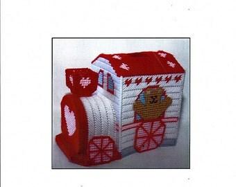 Valentines Train Tissue Topper  Plastic Canvas Pattern  no. 0125