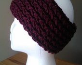 Burgandy, Maroon, Aubergine  Knit soft stretchy ear warmer headband