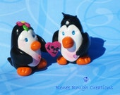 Penguin Couple Love Polymer Clay Miniature