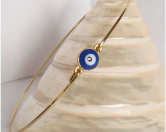 Gold and dark blue evil eye bangle - Evil eye bracelet - Minimalist jewelry - Everyday jewelry - Gold Bangles