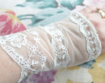 SALE Upcycled Clothing Bridal Gloves Wedding Accessories VintageGlovesFingerless Lace Shabby Elegant Country Bridesmaid Romantic BoHoAltered