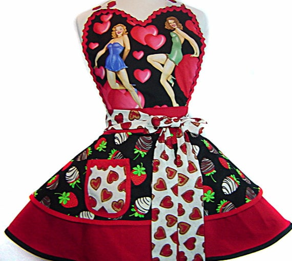 Sexy Sweetheart Pinup Diner Valentine Apron-A Tie Me Up Aprons Exclusive