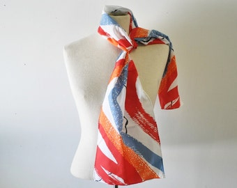 AVON scarf---vintage coral, peach, blue, red and white long skinny scarf