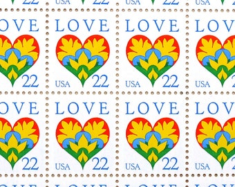 50 pieces - 1987 22 cent LOVE HEART Vintage unused stamps - great for valentines, wedding invitations - extra ounce postage