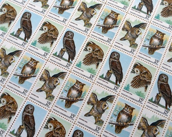 100 pieces - 1978 15 cent American Owls Vintage unused postage stamps - 4 designs - great for wedding invitations