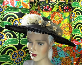 Vintage 1930's Picture Hat Black Handwoven Straw Bandeau Horsehair Lace Ruffle Pleated Ribbon Trim Orange Blossom Silk Flowers