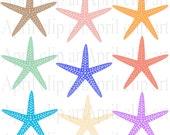 9 Starfish clipart, Silhouette  Ocean, Beach, Digital Clip Art, Digital scrapbooking, card making, invitations, tag, label