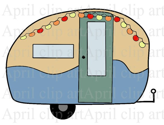 Brilliant Watercolor Clip Art  Retro Campers, RV, Recreational Vehicle, Vintage, Camping, Summer, Camp, Travel, Family, Fun, Friends, BONUS Card, Template, Instant Download Hand Painted Retro Camper Clip Art In Colorful Color Combinations