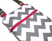 Grey Chevron pink sling purse cross body bag adjustable strap