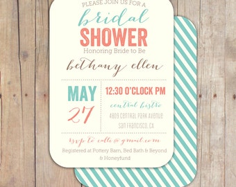 Vintage Boutique Bridal Shower Invitation Baby Shower Invite Coral and Turquoise Printable OR Printed Card