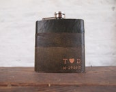 The Valentines Hip Flask, Initialled Leather Hip flask - Personalised love heart carving