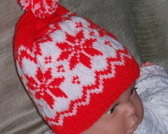 "HAND KNITTED  ""Nordic Snowflake"" Baby Hat - ( Happy Hat). - (Ready to Ship)"
