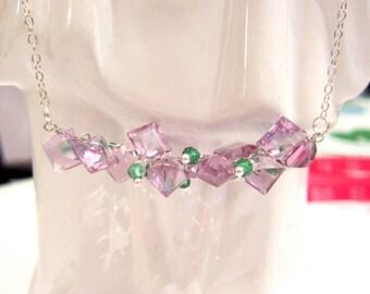 Lavender African Amethyst Trillion Tsavorite Gemstone  Bar Necklace Sterling Chain Mothers Day graduation birthday
