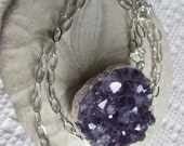 Amethyst raw (druzy) stone necklace