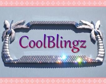 4 Row Diamond Bling CRYSTAL Rhinestone PALM TREE License Plate Frame made w/ Swarovski Elements