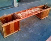 Redwood Bench/Dual Planter Box (Custom Sizes Available)