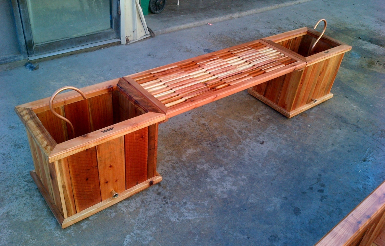 Redwood Bench Dual Planter Box Custom Sizes By LivengoodWood