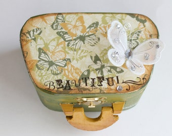 Green and Gold Jewelry Box, Butterfly Box, Altered Wood Box, Decorative Box