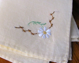 Vintage Linen Napkins 4 Yellow Embroidered Daisies Organdy