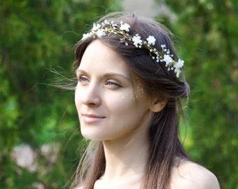 Flower wedding headband, Bridal Headband, Floral headband, White flower wedding headband, Hair accessories, Head piece, Hair circlet flowers