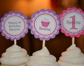 Cupcake theme cupcake toppers-set of 12