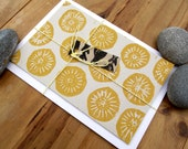 SALE Hand Printed Seaside Yellow Limpet Notecard - Lino/Block Print
