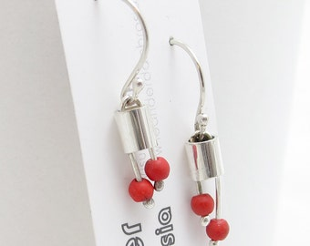 Red Bead Silver Earring - Cherry Blossom Earrings - Beaded Earring - Small Bead Earrings - Modern Bead Earings - Sterling Silver Beads Cute