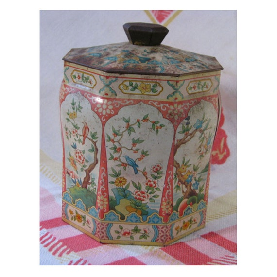 Vintage 1950s English Tin Box for Tea or Biscuits - Asian Theme Octagon Shape