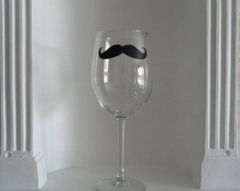 Mustache Wine Glass, Mustache Glass, Mens Gifts , Housewares, Glassware, Home & Living, Wine Glasses, Christmas Gifts, Holidays