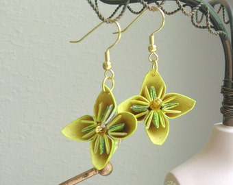 Origami Earrings - Kusudama Flower Yellow and Purple Paper Earrings - Paper Jewelry