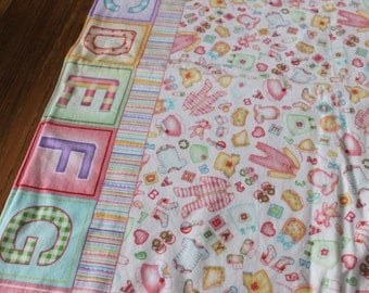 Baby Receiving Blanket - Baby Girl - Alphabet letters and Clothing Print Flannel- Handmade - Yellow Polka dot flannel Back