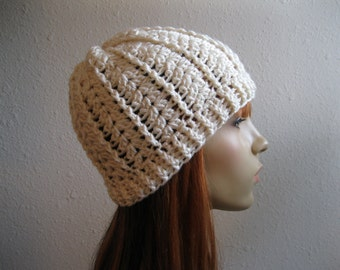 CLEARANCE SALE 30% OFF - Crocheted Beanie Hat Textured Off White - Ready to Ship
